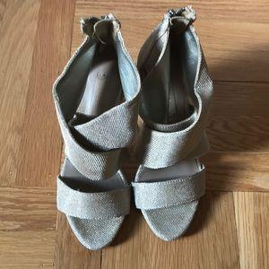 Zara Champagne gold wrap up heels